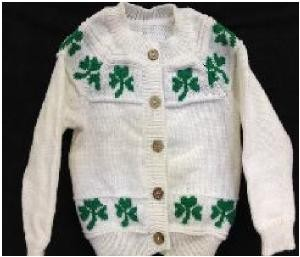 Irish Shamrock trimmed Acrylic Infant Sweater