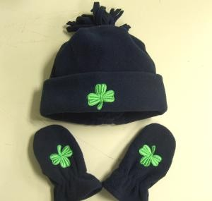 Irish Shamrock Infant Fleece Cap and Mittens Set