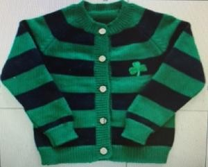 Blue and Green Striped Shamrock Infant Cardigan