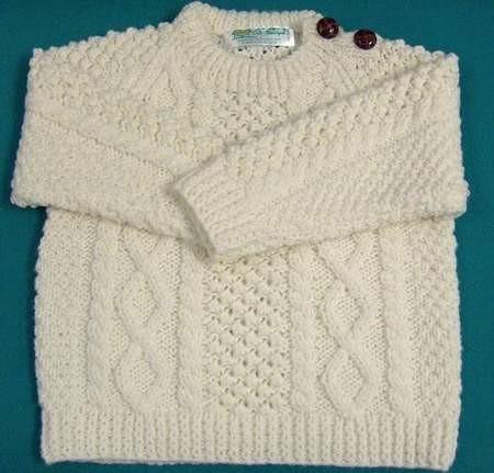 Aran Crew Button Infant Sweater