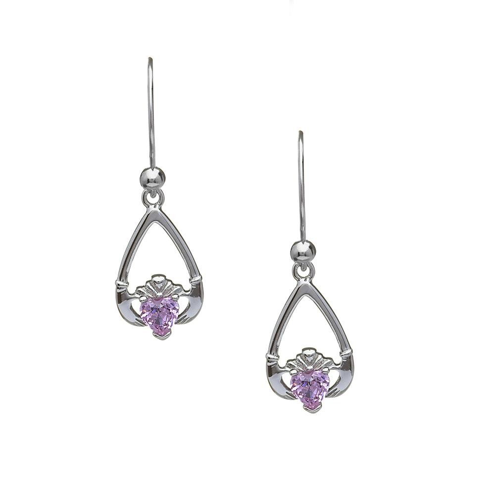 October-Pink Tourmaline Birthstone Claddagh Earring