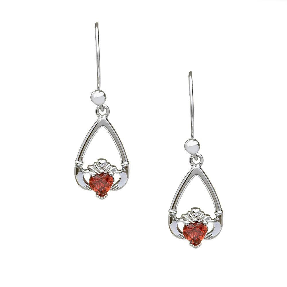 January-Garnet Birthstone Claddagh Earrings
