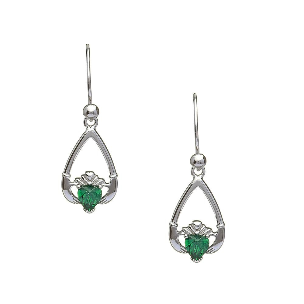 May-Emerald Birthstone Claddagh Earring