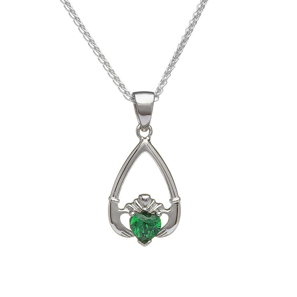 May-Emerald Birthstone Claddagh Pendant