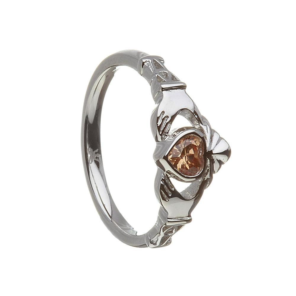 November-Citrine Birthstone Claddagh Ring