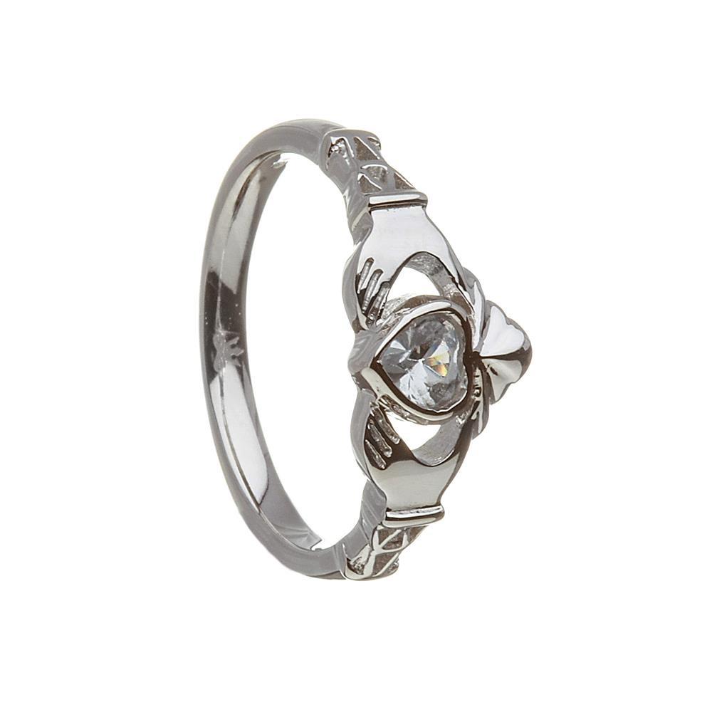 March-Aquamarine Birthstone Claddagh Ring
