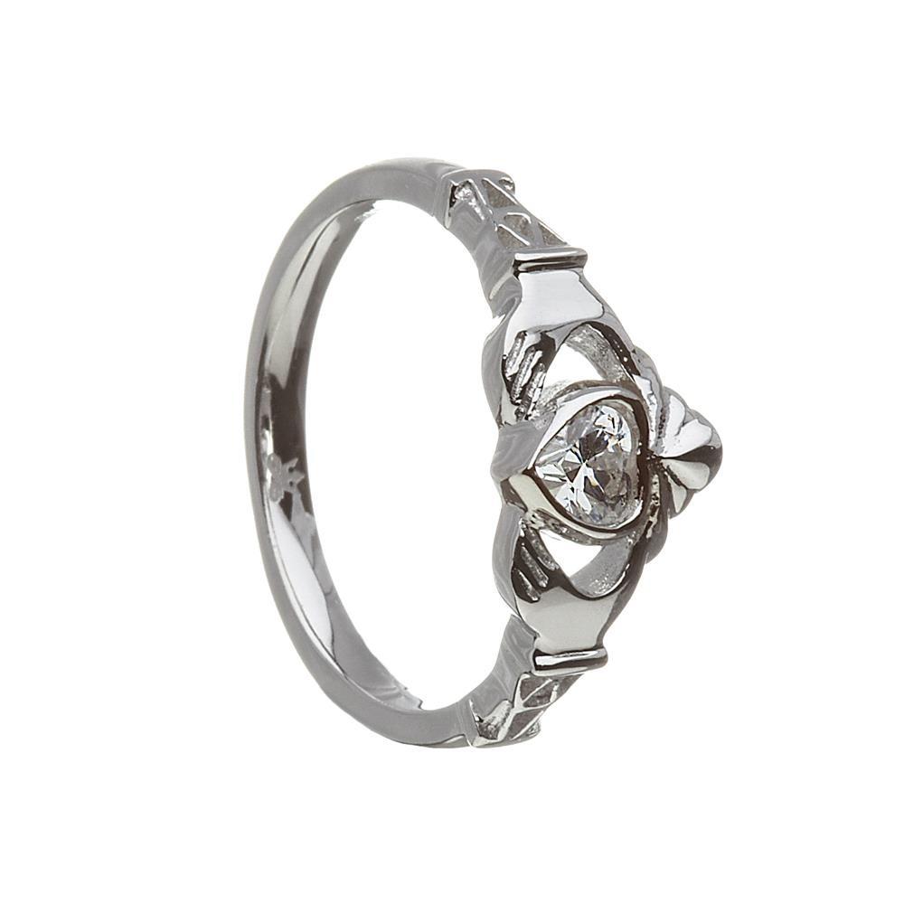 April-Cubic Zirconia Birthstone Claddagh Ring
