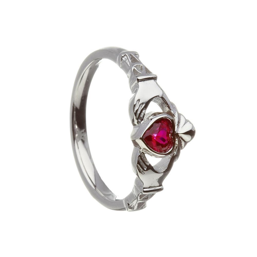 July-Ruby Birthstone Claddagh Ring