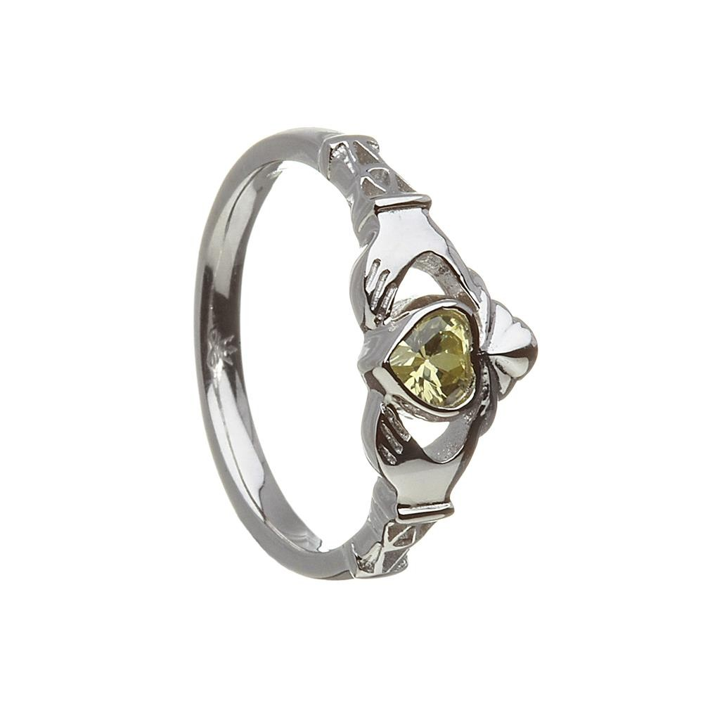 August-Peridot Birthstone Claddagh Ring
