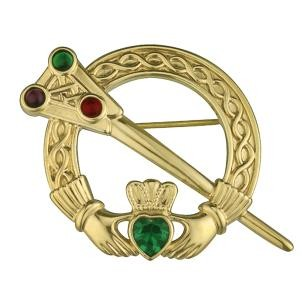 celtic claddagh tara brooch with stones