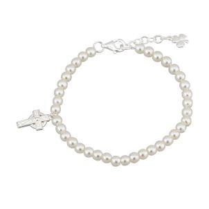 Childrens Irish Celtic Cross Pearl Bracelet