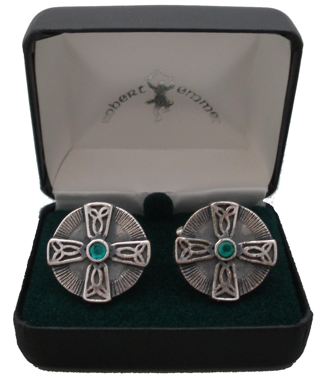 Celtic Cross Cuff Links Green Stone
