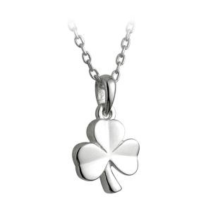 Childrens Irish Shamrock Pendant Sterling Silver