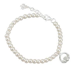 Childrens Irish Claddagh Pearl Bracelet
