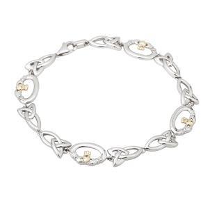 Claddagh Trinity Two Tone Sterling Silver Bracelet