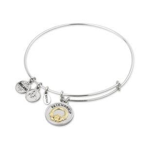Claddagh Two Tone Sterling Silver Bangle Bracelet