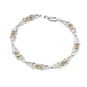 Diamond Trinity Knot Two Tone Sterling Silver Bracelet