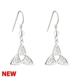 Fancy Trinity Knot Drop Earrings Sterling Silver