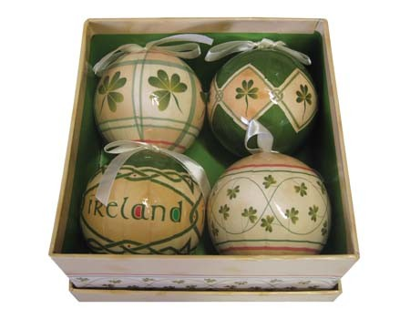 Set of 4 Shamrock Baubles