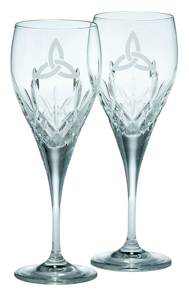 Galway Crystal Trinity Knot Goblet Pair