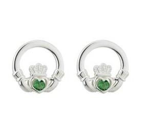 Green Crystal Irish Claddagh Stud Earrings
