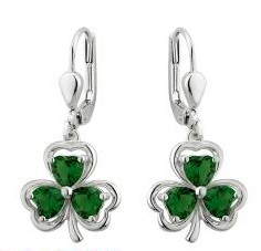 Green Crystal Irish Shamrock Drop Earrings