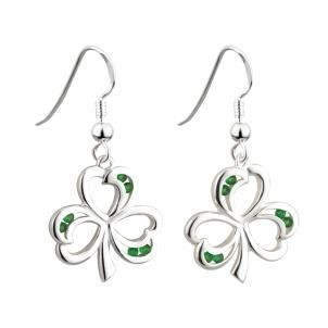 Green Crystal Sterling Silver Irish Shamrock Earrings