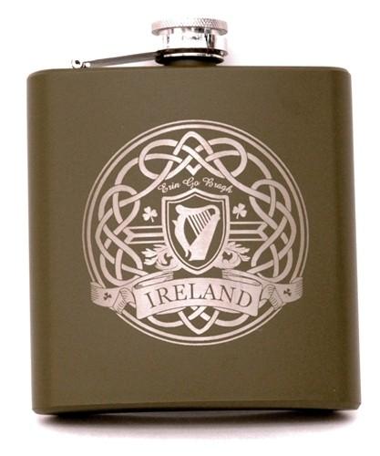 Green Irish Celtic Harp Flask