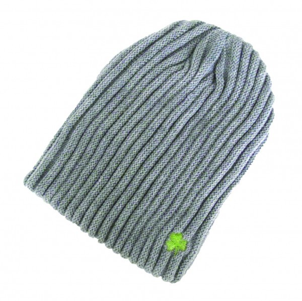 Ribknit Grey  Beanie Hat with Embroidered Shamrock