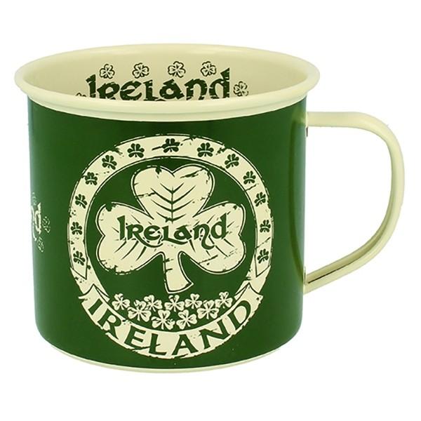 Ireland Enamel Irish Mug with Shamrocks