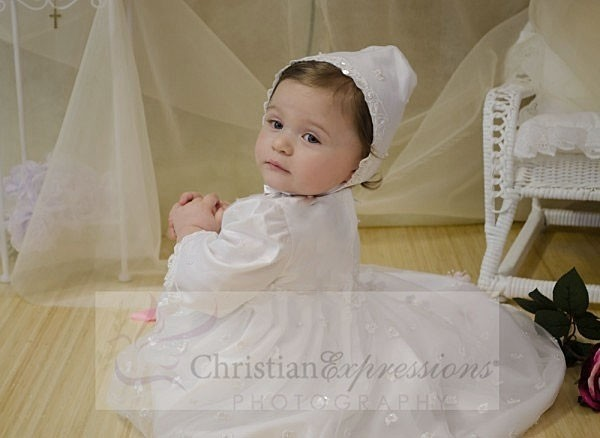 Girls Beaded Irish Shamrock Christening Gown