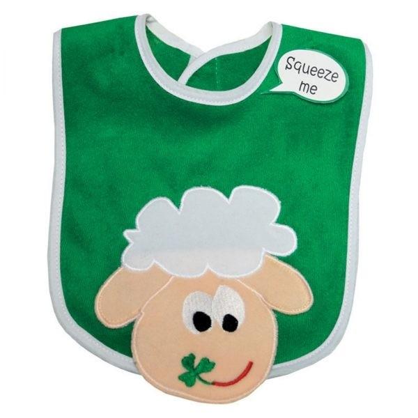 Irish Baby Bib with Fun Sheep and Shamrocks