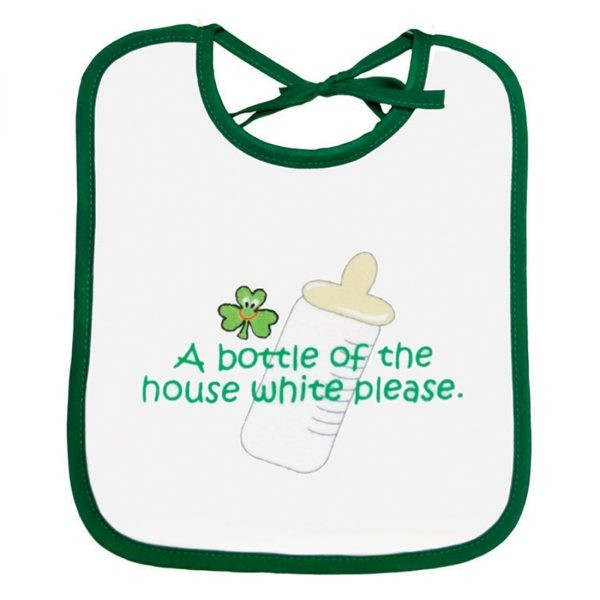 Irish Baby Bib with Shamrock Bottle of House