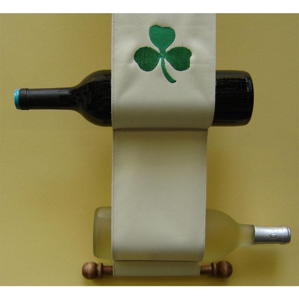 Irish Shamrock Canvas Wood Wine Caddy
