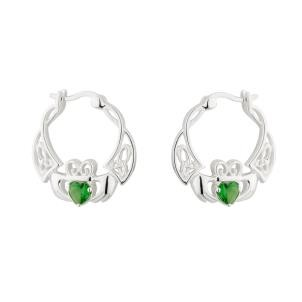 Irish Celtic Claddagh Creole Earrings