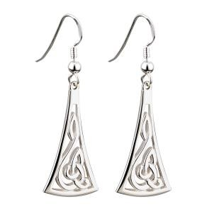 Irish Celtic Knot Drop Earrings Sterling Silver