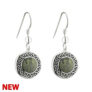 Irish Celtic Marble Drop Earrings Sterling Silver