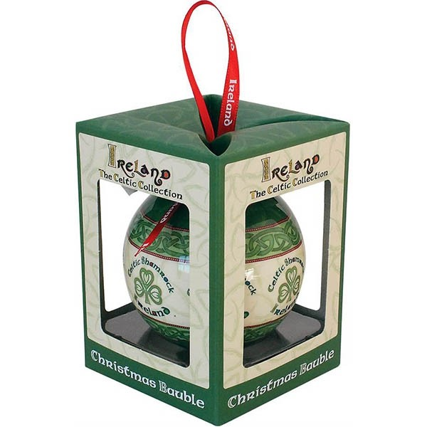 Irish Celtic Shamrock Christmas Bauble Ornament