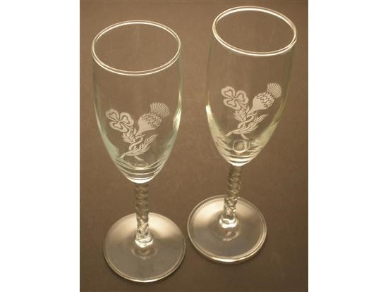 Irish Champagne Flute Glasses Pair Etched Thistle Shamrocks