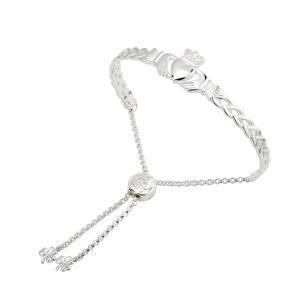 Irish Claddagh Celtic Knot Drawstring Bangle Bracelet