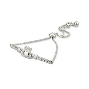 Irish Claddagh Drawstring Bracelet Sterling Silver