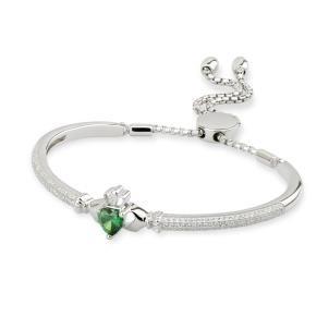 Irish Claddagh Green CZ Drawstring Bangle Bracelet