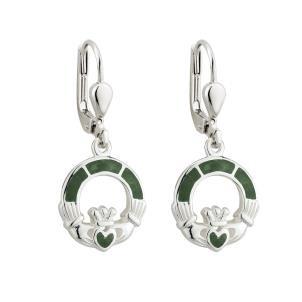 Irish Claddagh Marble Sterling Silver Earrings