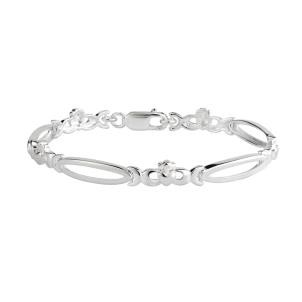 Irish Claddagh Open Link Sterling Silver Bracelet