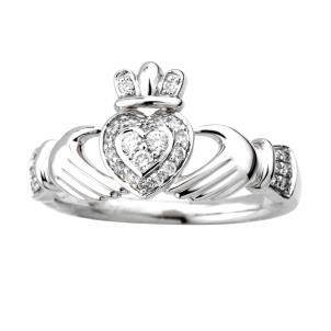 Irish Claddagh Ring 14k White Gold with Diamonds