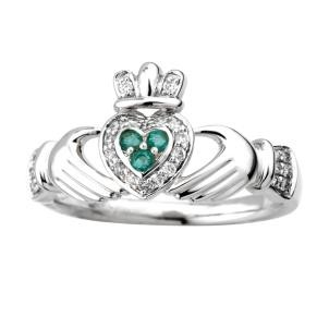 Irish Claddagh Ring 14k White Gold with Diamonds and Emeralds