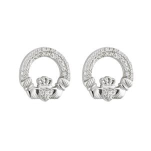 Irish Claddagh Stud Earrings Sterling Silver CZ