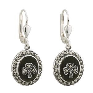 Irish Marcasite Shamrock Earrings Sterling Silver Oval