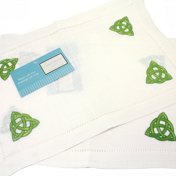 Irish Placemats with Green Celtic Knot