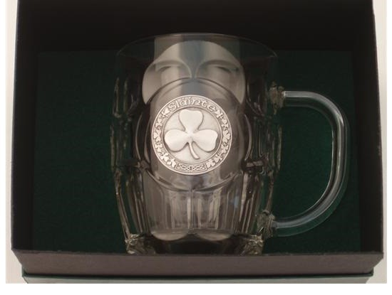 Irish Shamrock Beer Tankard Silver